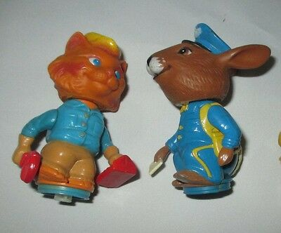 Vintage Figures, Mattel, 1975, Postman Bunny, Handyman Cat, lot of 2