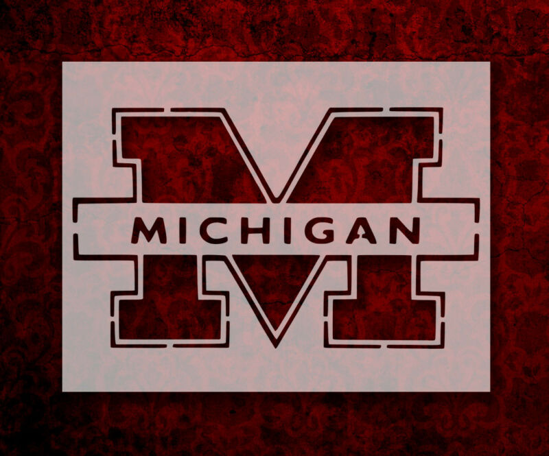 "University of Michigan M 11"" x 8.5"" Custom Stencil FAST FREE SHIPPING (143)"