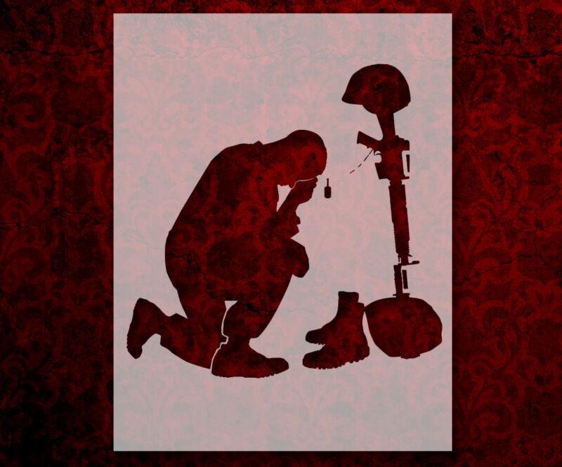 "Soldier Kneel Pray Rifle Helmet 8.5"" x 11"" Stencil FAST FREE SHIPPING (585)"