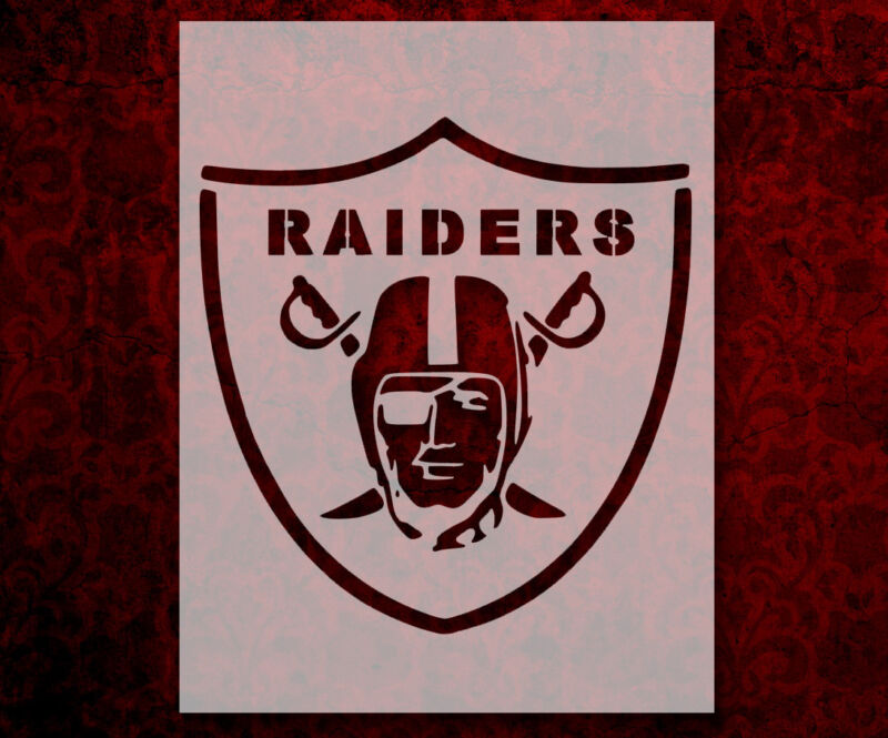 "Oakland Raiders Football 8.5"" x 11"" Custom Stencil FAST FREE SHIPPING (133)"