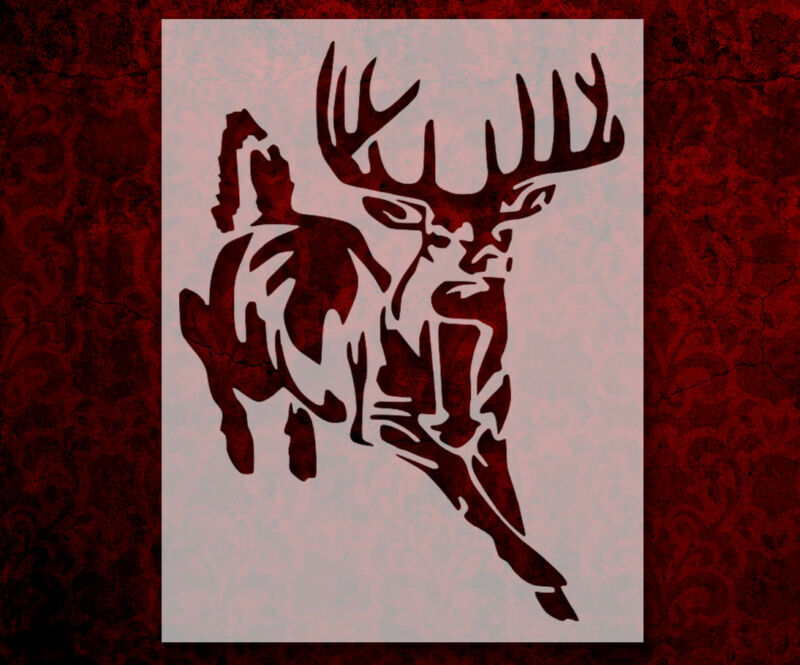 """Buck White-Tailed Deer Hunting 8.5"""" x 11"""" Custom Stencil FAST FREE SHIPPING (6)"""