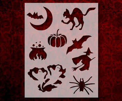 Halloween Bats Stencils (Halloween Bat Cat Pumpkin Witch + 8.5