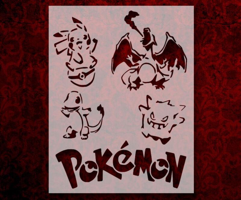 "Pokemon Charizard Pikachu Etc. 8.5"" x 11"" Stencil FAST FREE SHIPPING (88)"