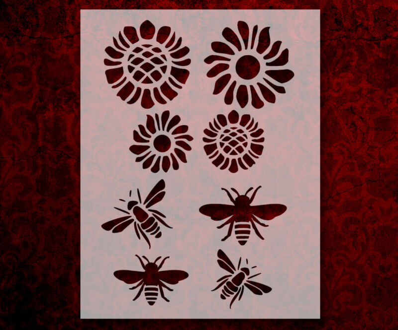 """Bee Bees Flower Flowers 8.5"""" x 11"""" Stencil FAST FREE SHIPPING (624)"""