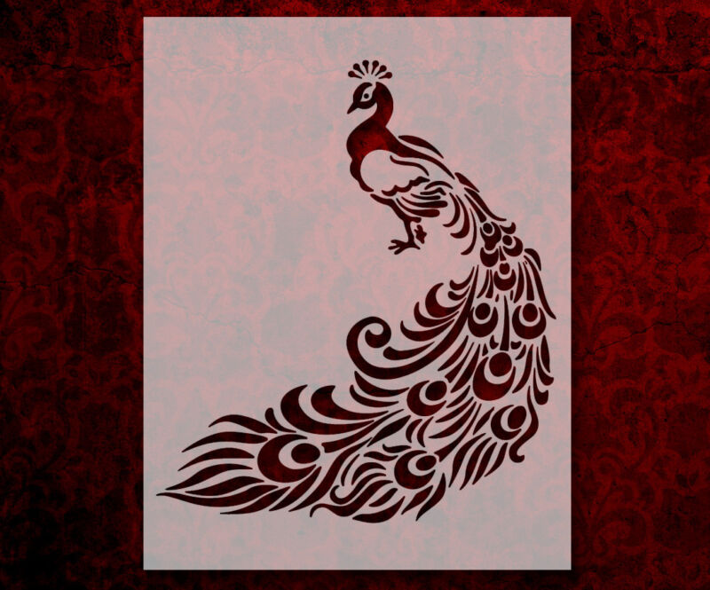 """Peacock Feathers 8.5"""" x 11"""" Stencil FAST FREE SHIPPING (574)"""