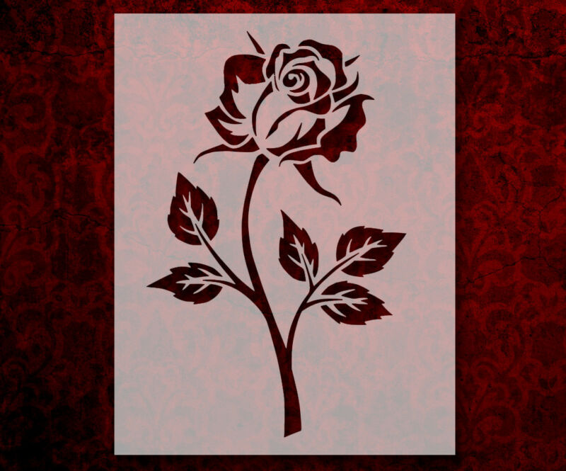 """Single Rose Leaves 8.5"""" x 11"""" Stencil FAST FREE SHIPPING (579)"""