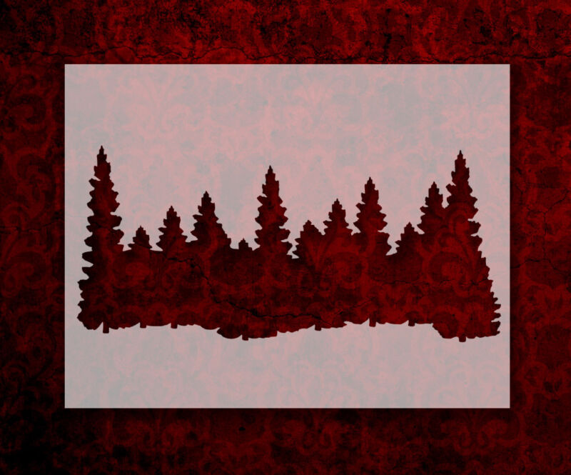 """Forest Line Pine Trees Smokey Mountains 11"""" x 8.5"""" Stencil FREE SHIPPING (269)"""