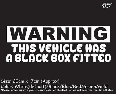THIS VEHICLE HAS A BLACK BOX FITTED Reflective Funny Car Boat Stickers best (Best Car Black Box)
