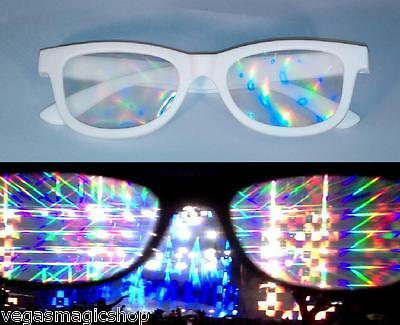 Diffraction Glasses - White - 3D Prism Lights Rave Club Parties Fireworks Laser - Raving Lights
