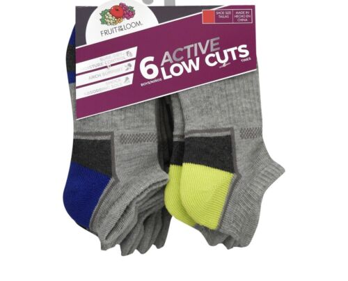 Boys Fruit Of The Loom 6 Active Low Cuts M/M  Socks.. NEW!!!