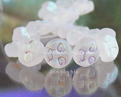 Moon Face Frosted Crystal AB Czech Glass Beads 20 Pcs