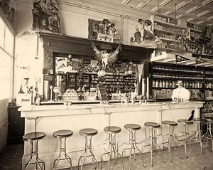 OLD TIME SODA FOUNTAIN SHOP PHOTO ICE CREAM SHAKES MALTS SODA 1900  #21138