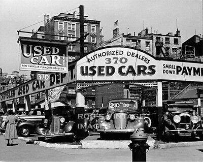Old New York City photo Used Car lot Chysler Dodge dealer Vintage 7th ave 1939