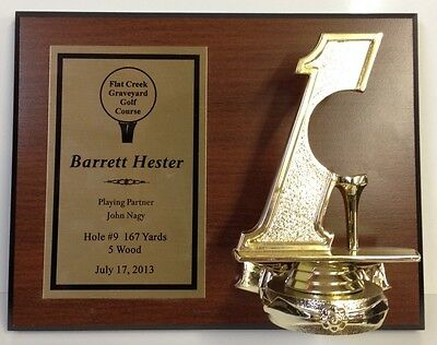 NEW Hole in One Plaque that holds a golf ball 7x9, Free Engraving, Free Ship