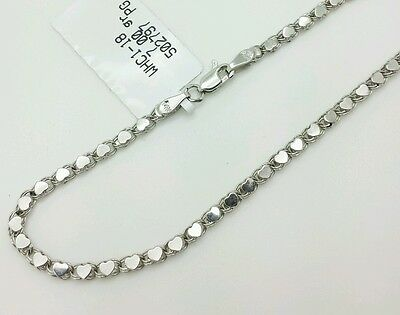 White Gold Heart Link (14k Solid White Gold Heart Link Bracelet Chain 7