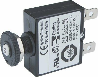 Blue Sea Systems Push Button Reset Only Quick Connect Circuit Breaker - 10 Amp