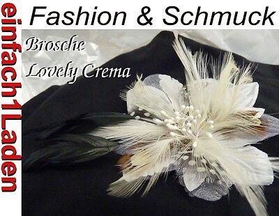 Brosche Haarschmuck LOVELY CREMA Stoffblüte Federn! Braut * Hochzeit * Gala Show