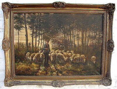 Schafherde mit Schäfer Öl Leinwand signiert