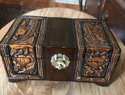 Vintage Chinese Huanghuali? Handcarved Handmade Hinged Jewelry Trinket Box