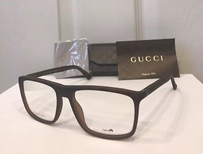 New GUCCI Men's Eyeglasses Frames GG1093 Havana W/Signature Web Stripe & Case