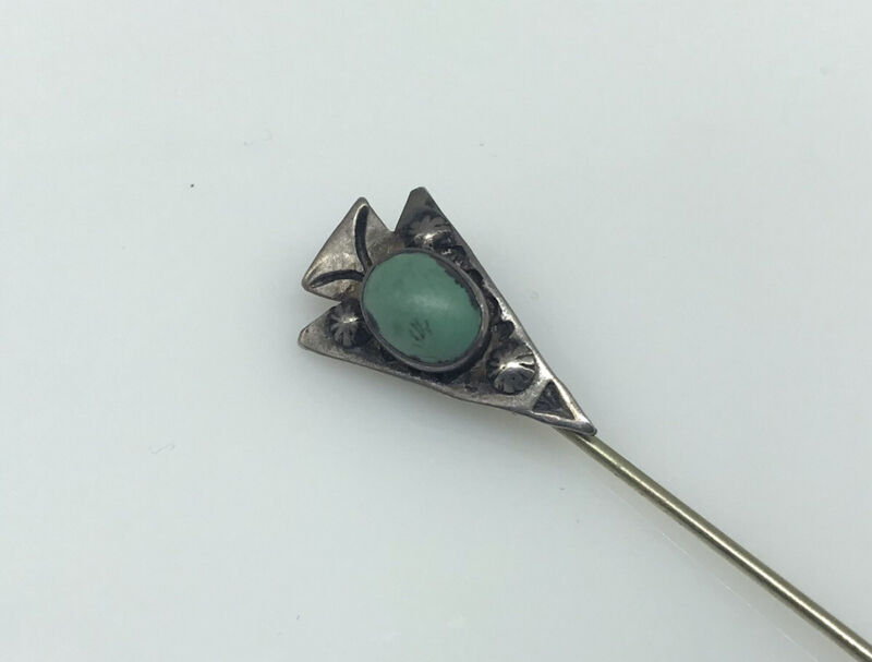 old Navajo arrowhead turquoise sterling silver stick pin stamped Native J20-6320