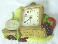 Vintage Signed Burwood For Homco Give Us This Day Our Daily Bread Kitchen Clock