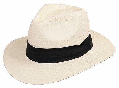 Damen Panama-hut (Strohhut Bogarthut Sommerhut Hut Panama Sonnenhut Herren Damen »MINEO« Weiss)