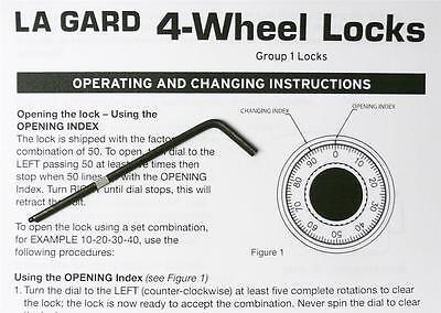 Lagard 4 Wheel Safe Lock Change Key Part 1315