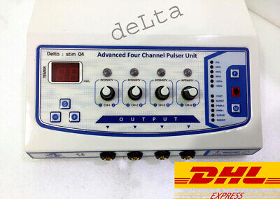 New 4 Ch Electrotherapy Pulse Massager Physiotherapy Multi Therapy Machine Sfejk