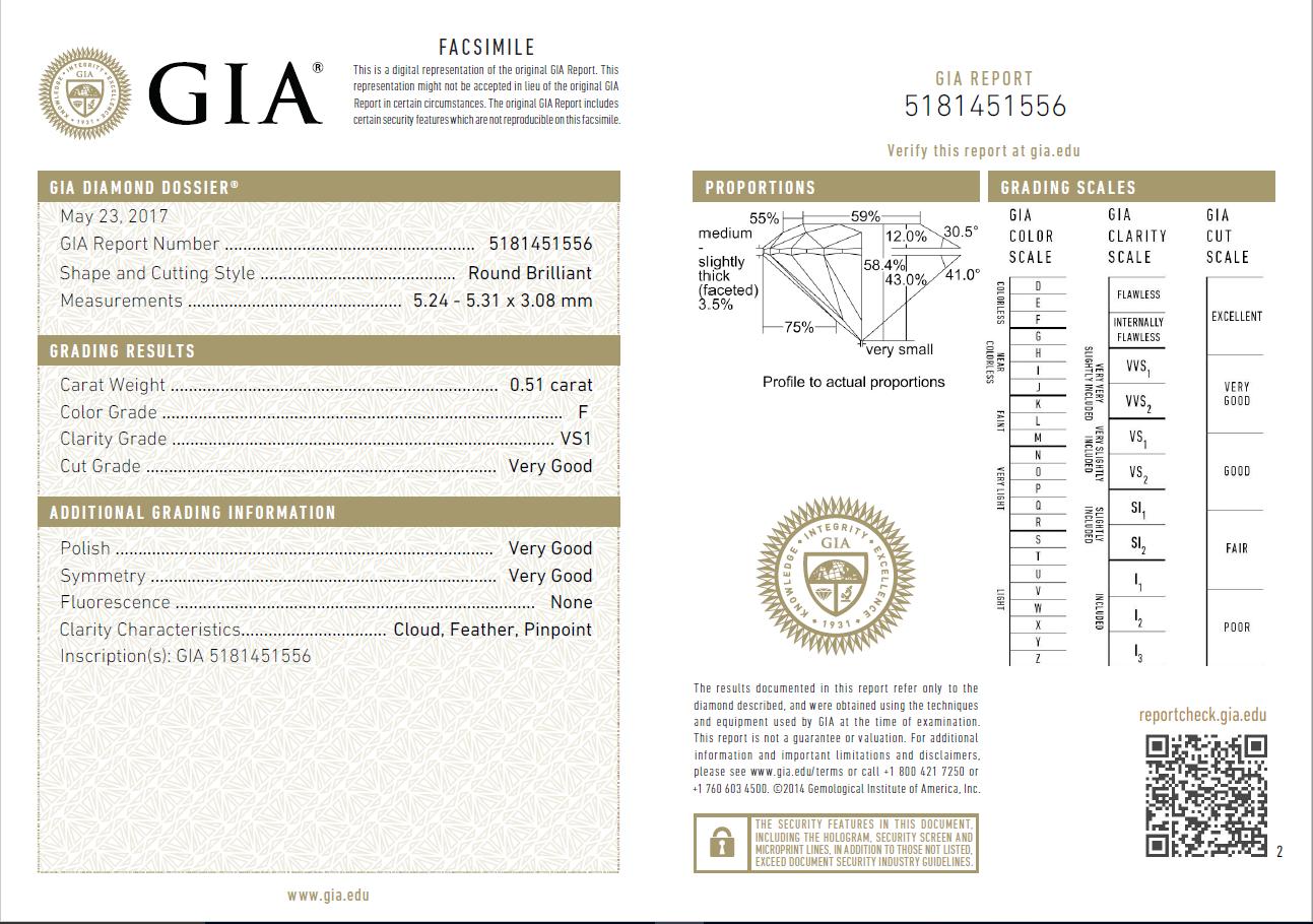 0.51 Carat Loose F/ VS1 Round Brilliant Cut Diamond GIA Certified