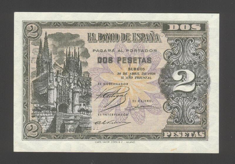 Spain 2 Pesetas 30-04-1938  UNC P. 109,    Banknotes, Uncirculated