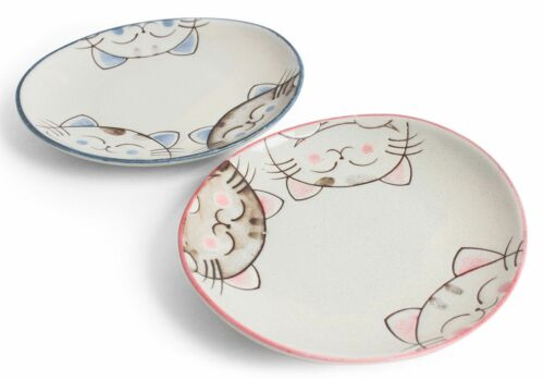 Mino ware Japanese Ceramics Mini Oval Plate Set of Two Smiling Cats Pink & Blue