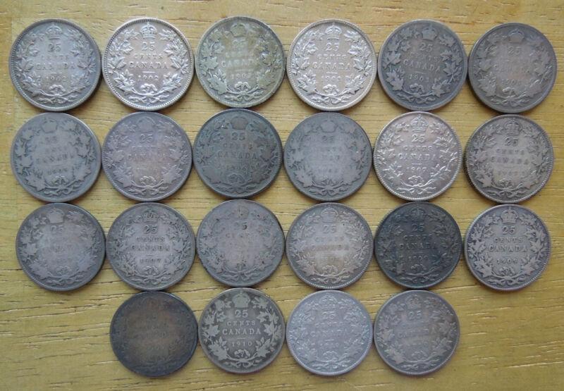 Canada 1902-1910 Twenty-Five 25 Cents Quarter Edward VII Silver Coins Collection