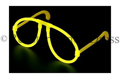 GLOW IN THE DARK GLASSES YELLOW NEON GLOW STICK HEN PARTY FESTIVAL FANCY DRESS - Neon Glow In The Dark Dresses