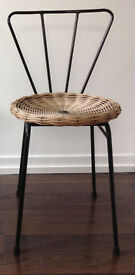 mid century wicker metal chair