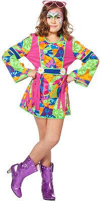 70er Jahre Sunny Hippie Kleid für Kinder NEU - Mädchen Karneval Fasching - 70er Jahre Hippie Mädchen Kostüm
