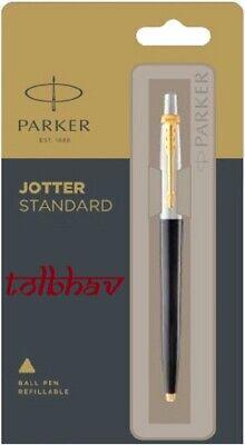 Parker Jotter Standard GT Gold Trim Ball Point Pen BP Black Body Blue Ink New