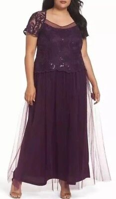 Brianna Sequin Bodice Formal Long Gown Dress Woman's Plus SIZE 16W Eggplant (Sequin Bodice)