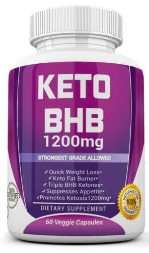 KETO BHB 1200mg PURE Ketone FAT BURNER RAPID Weight Loss Diet Pills Ketosis