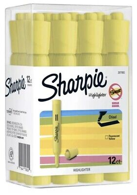 Sharpie Tank Highlighters Chisel Tip Fluorescent Yellow 12 Count Plus Bonus
