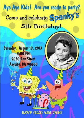 SPONGEBOB CUSTOM PHOTO BIRTHDAY PARTY INVITATION & FREE THANK YOU CARD