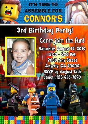 LEGO MOVIE CUSTOM PHOTO BIRTHDAY PARTY INVITATION & FREE THANK YOU CARD