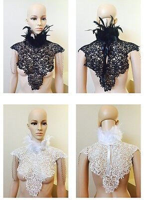 Victorian black lace Feather Collar shoulder pads neck corset shoulder piece