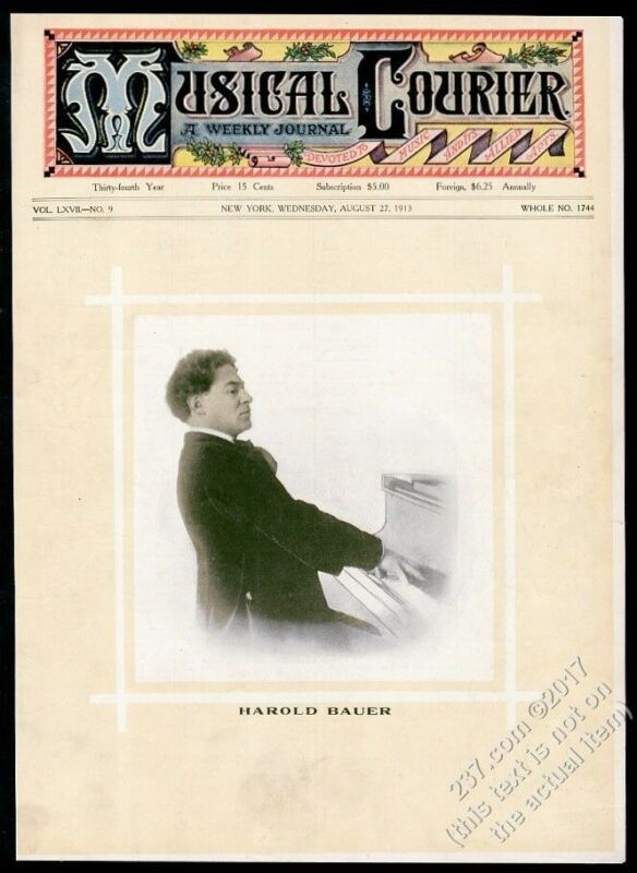 1910 Harold Bauer photo at piano Musical Courier framing cover