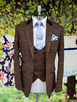 20s Style Suit (Cavani Tommy Brown 3 Three Piece Suit -1920s Peaky Blinders Style)