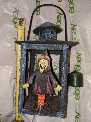 "Halloween Black Metal w Blue splatter paint Witches Candle Lantern  7 1/2"" - 10"""