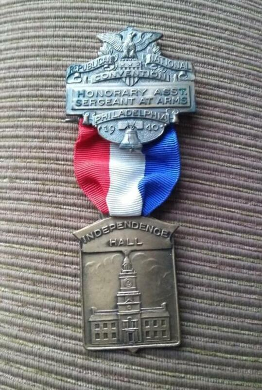 1940 REPUBLICAN NATIONAL CONVENTION PHILADELPHIA SERGEANT AT ARMS MEDAL WILLKIE