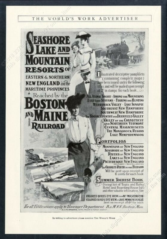 1905 Boston and Maine Railroad train travel art vintage print ad