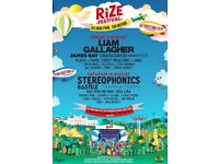 2x RiZE festival weekend camping tickets + car park