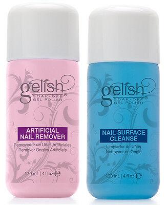 NEW Gelish Soak Off Gel Nail Polish Remover & Cleanser Bottles 120mL (4 fl oz)